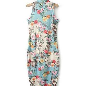 Stylish Turtleneck Sleeveless Floral Print Women's